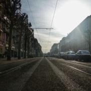 dans les rues de Caen, voies du Tram