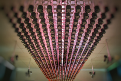 Plafond de bouteilles de cassis cassissium