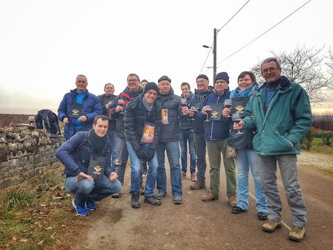 Un groupe de touristes belges venus pour la Saint Vincent Tournante 2017, Mercurey, Bourgogne
